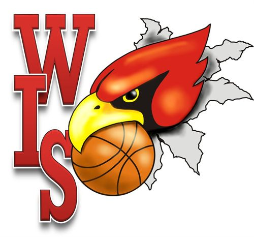 WIS Cardinal with a basket ball in the cardinal
