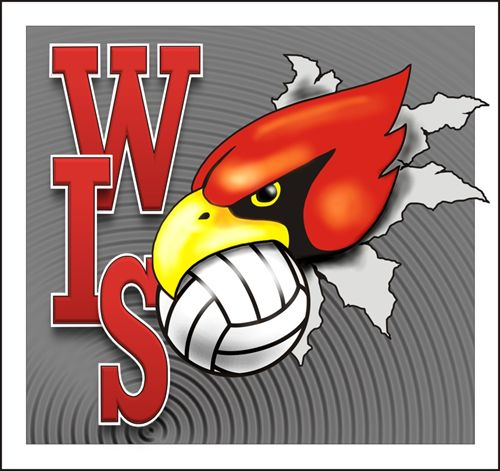 WIS Cardinal with a volleball in the cardinal